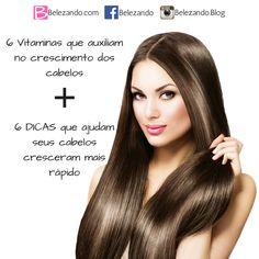 Veja quais são as 6 vitaminas que auxiliam no crescimento dos seus cabelos, veja também, mais 6 dicas que proporcionam um crescimento muito mais rápido.   Mais dicas no nosso blog: belezando.com