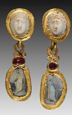 Roman gold ear pendants w\/ cameos & garnets  3rd c. AD
