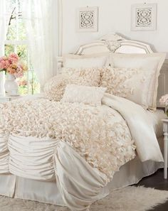 Ivory Ruffled Comforter Set ♥ L.O.V.E. so Pretty! {Swoon}