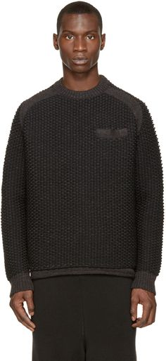 Sacai Grey & Black Textured Knit Sweater