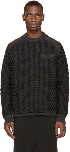 Sacai Grey & Black Textured Knit Sweater