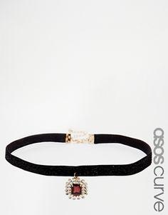 ASOS CURVE Jewel Glitter Choker Necklace