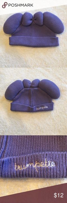 "Disney Baby Trumpette Hat Disney Baby Trumpette hat. Light purple with white stitching. Has Minnie Mouse ears and bow. No sizing on tag but measures approx 7.5"" across as pictured. Excellent condition. Disney Accessories Hats"