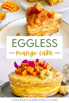 A gorgeous & easy eggless mango cake with a light cream cheese frosting that is perfect for the summer. This recipe truly highlights the fruit with dominating & subtle flavours. The cake is light and airy even with a few basic ingredients. Cream cheese and mangoes always makes a great combination together and you can make several variations of this mango cake by making small changes to the frosting. Read the blog for full step by step Instructions. Eggless Desserts, Eggless Baking, No Bake Desserts, Baking Recipes, Cake Recipes, Dessert Recipes, Strawberry Compote, Mango Cake, Pistachio Cake