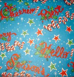 Vintage Gift Wrap. Retro Gift Wrap. Cheerio. Best Wishes. Candy Cane Wrap.