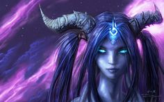 world of warcraft blue eyes horns fantasy art draenei  For the Horde always, but there is no denying that the Alliance has a particular beauty to it.