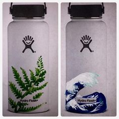 No two bottles will be alike! My hydro flasks are painted with acrylic paint and finished using a sealant for protection from the outside world. I do NOT recommend scrubbing, washing in a dishwasher, or soaking. Though the bottle has been sealed, paint may still chip if it is dropped, scratched, or