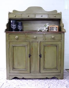 This piece was refinished by Dressers and Jujubes with General Finishes Nantucket Green Chalk Style Paint and an oil glaze. Loving this rustic look!