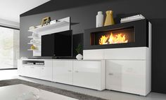 Ideal for any modern room, this entertainment unit features stylish matt fronts and gloss finish doors with built-in bio-ethanol fireplace