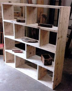 Reclaimed Wooden Future Rustic Room Divider / Shelving Unit / Vinyl Storage