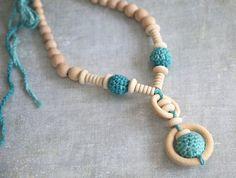 Organic cotton light mint gradient nursing necklace by nihamaj, $20.00