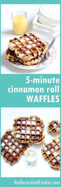 5-minute CINNAMON ROLL WAFFLES! with video how-tos, quick and easy breakfast idea