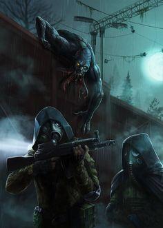 Stalker's story by Zloy-Caleb on DeviantArt Post Apocalypse, Arte Horror, Horror Art, Cthulhu, Guerra Anime, Post Apocalyptic Art, Zombie Art, Monster Art, Mad Max