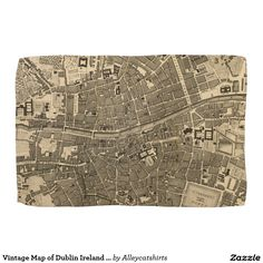 Vintage Map of Dublin Ireland (1797) Towels