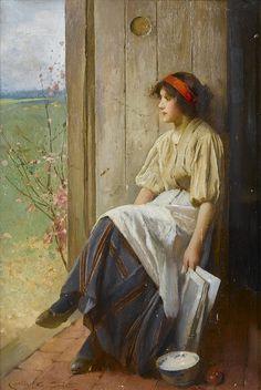 Carlton Alfred Smith - A moment's reflection. British, 1853-1946