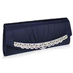 Sparkling diamante & navy satin clutch bag for proms or weddings.