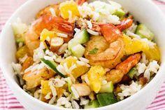 Chilli prawns with almond rice salad