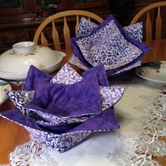 Purple Microwave Bowl Cozy Set of 3 contains one Large, Medium and Small Size Reversible Bowl Cozy, Bowl Hot Pad by BeverlyJaneCreations on Etsy