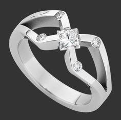 "'Ellen'  White Gold Tension Set Princess Cut Diamond Ring     ""Ellen"" Entrant in the 2010 Jewellers Association of Australia Jewellery Awards   Designer and Jeweller Nicholas Theochari"