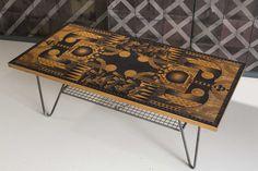 'Astoria' printed coffee table. Salvaged iroko top with geometric patterning. #danheathstudio #danielheath #salvage #eco #coffeetable #interior #lounge #room #home #pattern #design #wood #madeinengland #table #geometric
