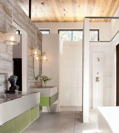barnboard detail in modern bathroom by surround via luxe magazine