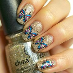 Butterfly nail decals! Use code AAX31 for 10% off @BornPrettyStore, 1 Sheet Nail Art Water Lovely Butterfly Print... at $0.99. http://www.bornprettystore.com/-p-8680.html