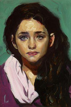 "Coiled"" - John Larriva, oil on hardboard, 2015 {contemporary #expressionist art female eyes #impasto woman face portrait painting #loveart} larriva.blogspot.com"