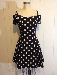 Polka Dot Rockabilly Off the Shoulder Dress by SallyMarieVintage