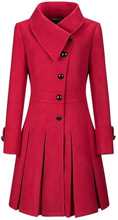 Honwenle Women Winter Fold Over Collar Single Breasted Plain Swing Woolen Long Coat Overcoat,Red,XX-Large Look Fashion, Womens Fashion, Trendy Fashion, Fall Fashion, Modelos Fashion, Stylish Coat, Schneider, Coat Dress, Trendy Outfits