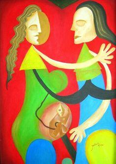 Embarazo de Nico. Oleo por Willan León