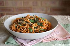 carrot pasta with lemony tahini sauce
