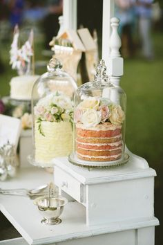 Glass dome cake displays - great for an outdoor celebration
