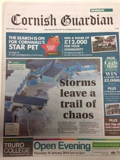 Front page on today's Cornish Guardian following recent storms! #Cornwall