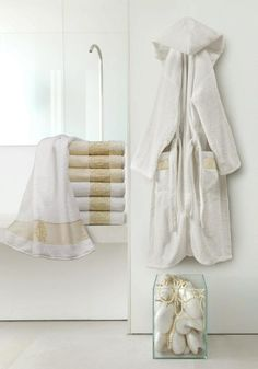 Wrap yourself in these luxuriously soft bath robes designed by Roberto Cavalli. The Roberto Cavalli logo is embedded on the robes and towels. Visit us at Davids Fine Linens for more of the Roberto Cavalli's Home Collection. #bathrobesandtowels#RobertoCavalliHomeCollection#luxuriousbathandbedcollection#madeinItaly##shopatBayViewVillageShoppingCenter#DavidsFineLinens#oneofakindlinenboutique#lovelinens