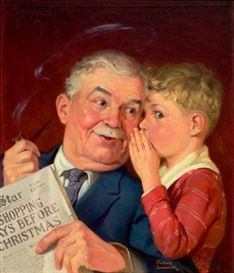 Boy Whispering into Grandfather's Ear, Capper's Farmer magazine cover by Russell Sambrook