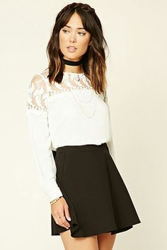 Forever 21 is the authority on fashion & the go-to retailer for the latest trends, styles & the hottest deals. Shop dresses, tops, tees, leggings & more! Lacy Tops, Model Look, Dressed To Kill, Embroidered Lace, New Outfits, Shirt Blouses, Shirts, Clothes, Dresses