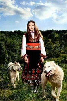 Europe | Portrait of a girl wearing traditional clothes, Bulgaria