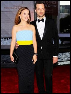 Natalie Portman, in Dior, with Benjamin Millepied.  That unexpected combination on the Dress?...however  I find it pretty