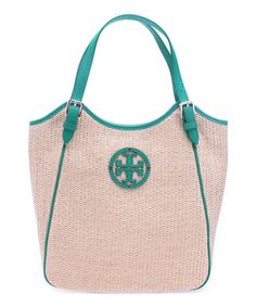 Look at this #zulilyfind! Natural & Emerald City Raffia Small Slouchy Tote by Tory Burch #zulilyfinds
