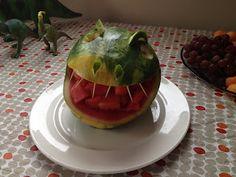 Crafty Kris: A Dinosaur Birthday!  Dino watermelon and volcano cake