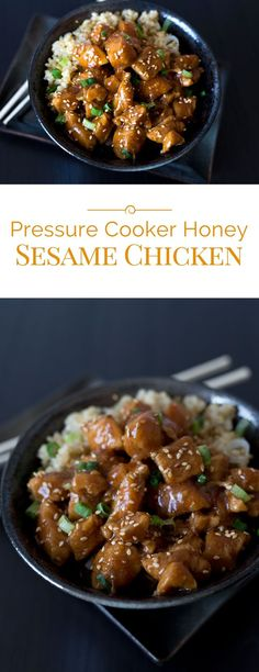 Tender bite size chunks of chicken in a sweet, sticky sauce. A quick, easy to ma… Tender bite size chunks of chicken in a sweet, sticky sauce. A quick, easy to make meal that the whole family will love. Power Pressure Cooker, Pressure Cooker Chicken, Instant Pot Pressure Cooker, Pressure Pot, Breville Pressure Cooker, Chicken Cooker, Pressure Canning, Pressure Cooking Recipes, Slow Cooker Recipes