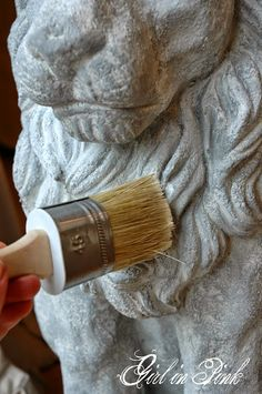 Artisan Enhancement's Topcoat Brush is ideal for applying sealers, such as the Clear Topcoat Sealer being used here for an exterior grade finish on a resin statue. Concrete Statues, Stone Statues, Concrete Patios, Painting Tips, Painting Techniques, Chalk Painting, Greek Statues, Angel Statues, Statue Tattoo