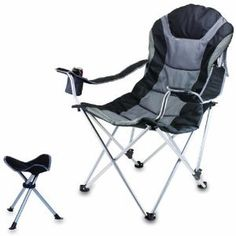Delicieux Outdoor Reclining Camp Folding Chair Cup Holder With Footrest Picnic Time