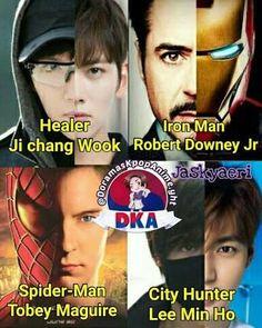 Resultado de imagen para memes de doramas español Kpop, Kdrama Memes, City Hunter, Ji Chang Wook, Downey Junior, Robert Downey Jr, Lee Min Ho, Iron Man, Anime