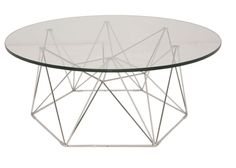 """Old Bones is proud to present the Kayt coffee table by Nuevo. Features: - Glass top - Chromed steel frame Dimensions: 36 x 14¾"""""""