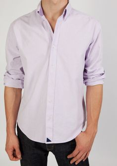 For gentlemen who love oxfords, this lavender shirt with button-down collar is perfect for the boardroom and the bar.