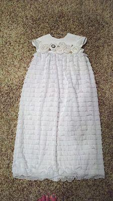 Make blessing dress using ruffle fabric! I love this idea! Sewing Ruffles, Ruffle Fabric, Blessing Dress, Baby Blessing, Baby Girl Baptism, Baptism Dress, Cool Baby Stuff, Kid Stuff, My Little Girl