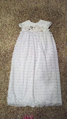 Make blessing dress using ruffle fabric! I love this idea!