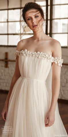 chana marelus fall 2019 bridal off shoulder straight across embellished neckline tent a line wedding dress vintage boho chic sweep train zv -- Chana Marelus Fall/Winter 2019 Wedding Dresses Wedding Dresses For Maids, Orange Bridesmaid Dresses, Making A Wedding Dress, Wedding Dress Trends, Dream Wedding Dresses, Bridal Dresses, Wedding Gowns, Bridal Gown, Straight Wedding Dresses