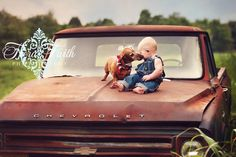 Vintage truck baby / toddler picture - Tiera Faith Photography
